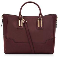 Dark Red Suede Panel Tote Bag (€34) ❤ liked on Polyvore featuring bags, handbags, tote bags, plum, dark red handbag, red tote bag, tote handbags, suede tote and suede tote handbag