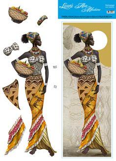 Litoarte African Women, African Art, Image 3d, African Paintings, 3d Paper Crafts, 3d Cards, Afro Art, Tribal Art, Mosaic Art