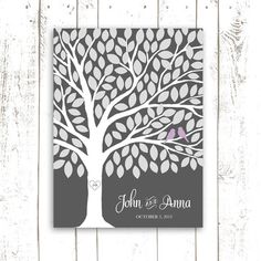 Guest Book Tree for Fall Wedding - Wedding Tree for 115 Guest Signatures in Orchid and Grey on Etsy, $48.00