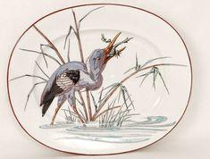 Plat Ovale Faïence Bordeaux Vieillard Grands Oiseaux Millet Héron XIXè Motif Floral, Antiques, Big Bird, Old Men, Dish, Antiquities, Antique