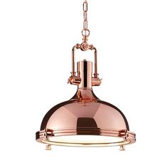 Boston Industrial Pendant Lamp - Copper - Wow your guests with this stunning designer hanging light from Leyton. Industrial Hanging Lights, Copper Pendant Lights, Copper Lamps, Copper Lighting, Pendant Lamp, Pendant Lighting, Industrial Lighting, Industrial Style, Types Of Lighting