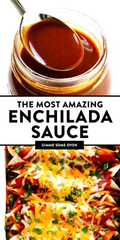 This is truly the BEST Enchilada Sauce recipe! It's quick and easy to make, natu… This is truly the BEST Enchilada Sauce recipe! It's quick and easy to make, naturally vegetarian, and full of the best flavors. Mexican Dishes, Mexican Food Recipes, Vegetarian Recipes, Cooking Recipes, Healthy Recipes, Healthy Food, Mexican Cooking, Cooking Food, Delicious Recipes