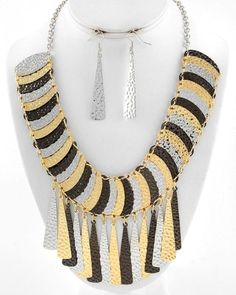 Tri Tone Hammered Metal Oval & Tassels Bib  Necklace Set Fashion Jewelry #FashionJewelry