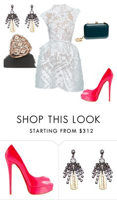"""""""Untitled #21319"""" by edasn12 ❤ liked on Polyvore featuring Elie Saab, Christian Louboutin, Tom Binns and Bloomingdale's"""