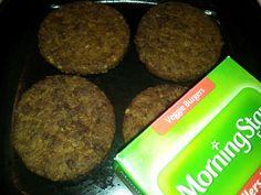 MorningStar Farms Garden Veggie Burgers cooking in my cast iron skillet!  #GotItFree