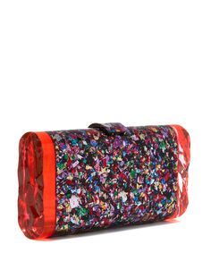 EDIE PARKER CONFETTI STYLE LARA BACKLIT ACRYLIC CLUTCH, is my styling choice for my submitted designed dress. Liberty Fashion, Fashion Competition, Sunglasses Case, Luxury, Confetti, Fabric, Gifts, Accessories, Beauty