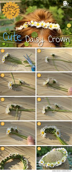 Easy #DIY tutorial for a Cute Daisy Crown! #craft // Einfache Gänseblümchen Krone selber machen                                                                                                                                                      More