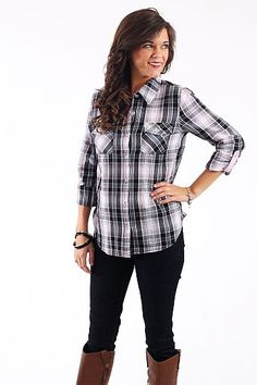 "Dirt Roads Top, Black/Pink $34.50 Plaid button ups are all the rage so don't miss out! These are great for layering as well. Just toss a cardigan or vest on over it and out the door you go:)   Fits true to size. Miranda is wearing the small.    From the shoulder to the hem:  S-24""  M-24""  L-26"""