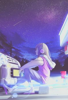 Anime girl looking at the stars :)