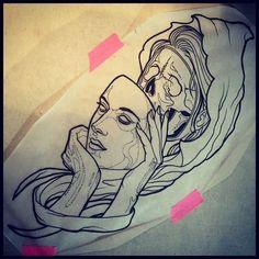 Death Girl Tattoo Design #tattoodesigns