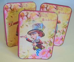 Alice in Wonderland 8 Large Mad Hatter tent cards party favor table decoration  #HandCrafted #Party