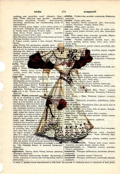 Cream and chocolate Ladies Spring Dress dictionary book page 1800s Buy 3 get ANOTHER 1 Freeprint print on Etsy, $8.00