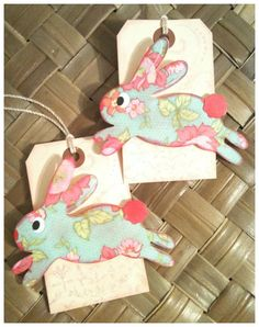 Vintage Style Easter Wishes Spring Bunny Rabbit Robin Bird Gift or Scrapbook Tags or Magnet #314