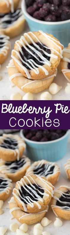 Easy Blueberry Pie Cookies - a shortbread cookie filled with blueberry pie! This recipe is foolproof and perfect for the holidays. Tarte Cookie, Cookie Pie, Cookie Desserts, Just Desserts, Cookie Dough, Cookie Recipes, Dessert Recipes, Cookie Cups, Quick Dessert