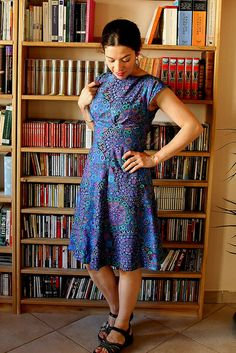 Me Made May 2014 - day 9 by Isabelle of Kitty Couture. The Anna Dress, By Hand London. Millefiore fabric by Kaffe Fassett for Rowan fabrics. Blogged here: http://kittycouture.blogspot.fr/2014/04/blue-anna.html