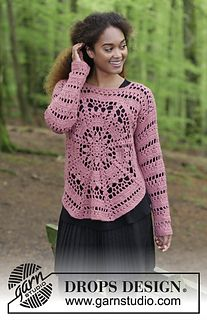 Crocheted sweater with octagon and lace pattern. Sizes S - XXXL. The piece is worked in DROPS Puna.