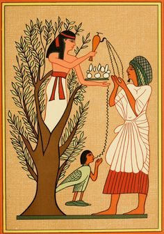 As Loving Mother-Goddess Mut Pours Water from the Sycamore Tree Over a Deceased Person and His Soul by E. Greece Mythology, Egyptian Mythology, Ancient Egyptian Art, Ancient Symbols, Ancient Greece, Isis Goddess, Mother Goddess, Scrapbook Blog, Egypt Art