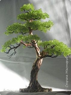 Bonsai Topiary Bonsaychik Beading Beads Victorian Flowers, French Beaded Flowers, Wire Tree Sculpture, Crystal Tree, Artificial Tree, Wire Crafts, Bead Crafts, Wire Trees, Tree Of Life Art
