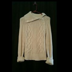 Zara knit sweater Ivory sweater with asymmetrical button turtle neck. No trades please Zara Sweaters Cowl & Turtlenecks