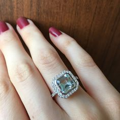 A closer look at one of the staff picks featured for this month. Isn't this aquamarine halo ring breathtaking? Halo Rings, Closer, Engagement Rings, Jewels, Stone, Enagement Rings, Wedding Rings, Rock, Bijoux