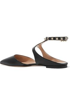 Valentino - The Rockstud Leather Point-toe Flats - Black - IT