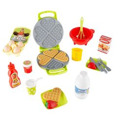 Kids Toy Waffle Iron Set with Music and Lights- Fun Pretend Play Waffle Making Kit Includes Waffles, Whisk, Syrup, Milk, Eggs and Little Girl Toys, Toys For Girls, Baby Girls, Toddler Toys, Kids Toys, Baby Toys, Bebidas Do Starbucks, Play Food Set, Kids Play Food