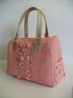 """Купить вязаная сумка-саквояж """"Николь"""", цвет: розовый - розовый, однотонный…"""