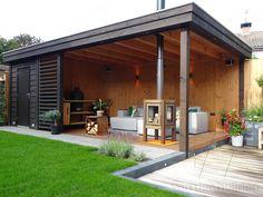 Garden Cabins, Home And Garden, Backyard Pavilion, House, Pool House, Modern Outdoor Kitchen, Dream Backyard, Pool Houses, Garden Projects