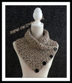 The Margaret Button Cowl is a beautiful cool weather cowl that is fun to crochet, fully adjustable, and has an interesting yet easy s. Crochet Hooded Scarf, Crochet Scarves, Crochet Shawl, Crochet Clothes, Crochet Hooks, Free Crochet, Knit Crochet, Bernat Softee Chunky Yarn, Crochet Slippers