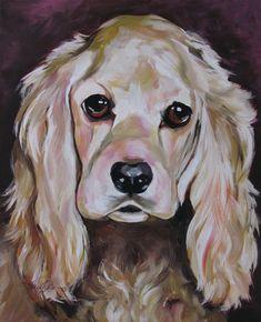 "Cocker Spaniel, Dog Art, Custom, Painting, Dog Lovers, Sadie, Famous Dog, Acrylic, Small Dog, Modern Dog, 11""x14"" Matted Print"