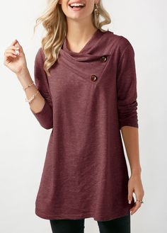 0a5a82664b9ac Women s Cowl Neck Tunic Tops Long Sleeve Sweatshirts with Buttons