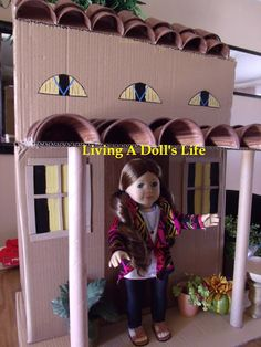 Living A Dolls Life : Make your own AG casa from cardboard- great tutorial!  HTM Saiges AGP Casa