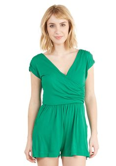 496d078dbc56c Hopscotch into Style Romper in Green. A jersey-knit romper thats both  fashionable and