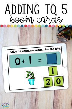 These self-correcting addition digital task cards are great for kindergarten students working on fluency with facts to sums of 5.  Students can use these Boom Cards on almost any digital device to practice adding!  These simple flashcards have an equation, visuals to match the equation and a field of 3 answer choices.  Teachers can use them in a digital format or print them out to use in the classroom.