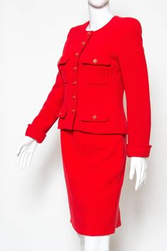 1990s Chanel Iconic Red Boucle Skirt Suit | From a collection of rare vintage suits, outfits and ensembles at https://www.1stdibs.com/fashion/clothing/suits-outfits-ensembles/