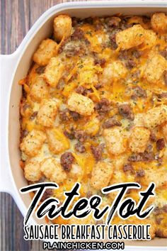 Tater Tot Sausage Breakfast Casserole - great make ahead recipe!  Sausage, cheddar cheese, tater tots, eggs, milk, garlic, onion and black pepper. Can refrigerate or freeze for later. Great for breakfast. lunch or dinner. Everyone loves this easy breakfast casserole!! Tater Tot Breakfast Casserole, Sausage Breakfast, Breakfast Dishes, Breakfast Time, Breakfast Recipes, Breakfast Ideas, Sausage Casserole, Casserole Recipes, Tater Tots