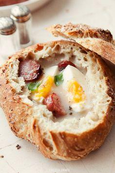 Żurek - Polish Sour Rye Soup w/ Eggs & Kiełbasa Kielbasa, Soup Recipes, Cooking Recipes, Polish Recipes, Polish Food, Bread Bowls, Snacks, International Recipes, Gourmet