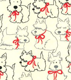 Snuggle Flannel Fabric-Scotties In Red Bows