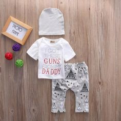 Toddler Baby Boys Girls Cotton T-Shirt+ Long Pants +Hat Clothes Outfits Set Bear Hoodie, Sweater Hoodie, Pullover, Pantalon Long, T Shirt Top, Daddy, Baby Boy Newborn, Baby Boys, 2 Piece Outfits