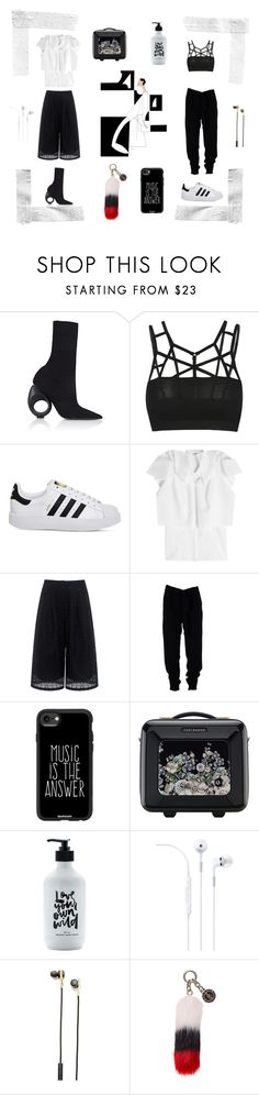 """Black & White"" by noemilenette on Polyvore featuring Burberry, adidas, Delpozo, Edit, MSGM, Casetify, Ted Baker, Caeden and Tommy Hilfiger"