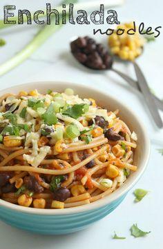 Enchilada noodles #Recipe. #Celiac #coeliac, use #glutenfree #Noodles & #EnchiladaSauce.