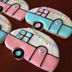 Glamping (Tin Can) Camper Cookies  1 Dozen by kjcookies on Etsy - royal icing pink & blue