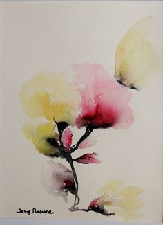 """tableau bouquet fleur"""" FLEUR DE COTON """" """" peinture aquarelle sur papier 300g : Peintures par danyrocherleroi"""
