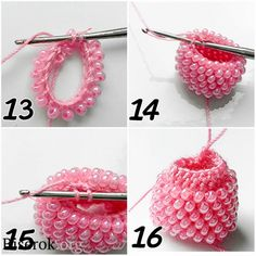 Single tubular bead crochet (as opposed to the more common Slip Stitch Crochet). Beads will slant, rather than sit straight up.
