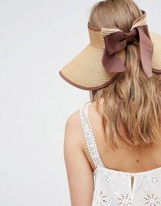 Liquorish Vintage Style Straw Visor With Bow Detail At Back #hat #womens