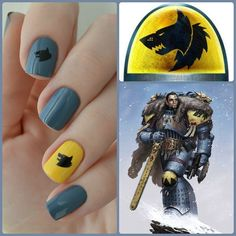 Space Wolves Warhammer manicure collage