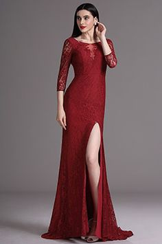 eDressit Burgundy 3/4 Sleeves Lace Mermaid Prom Formal Dress (26163217)