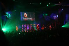 Personal design work * event * 16' wide illuminated backdrop, on left 9' chandelier, on right 2 4' chandeliers