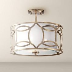 "Roxbury 16"" Wide Antique Brass Ceiling Light"