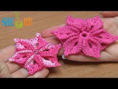 ▶ Вязаный цветок Урок 46 Цветок с лепестками украшенными пико - YouTube